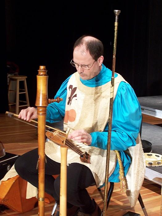 Steve preparing for performance