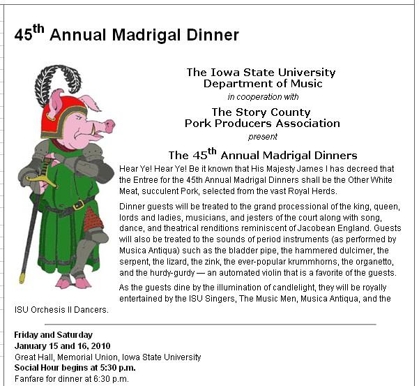 flyer for madrigal dinner