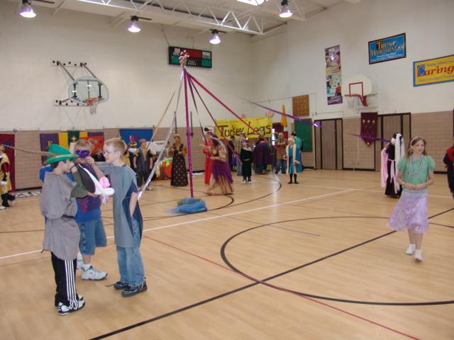 Students enjoying renaissance fair activities