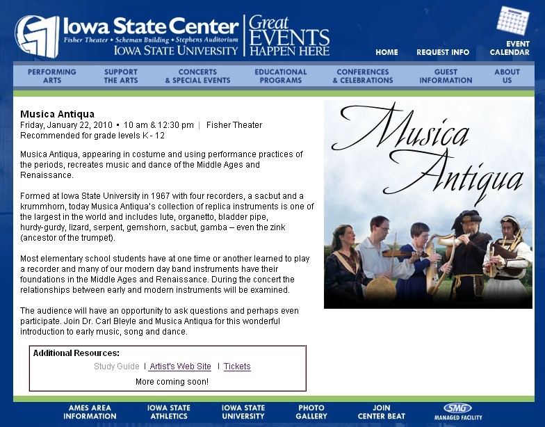 screenshot of the Iowa State Center website with Antiqua performance