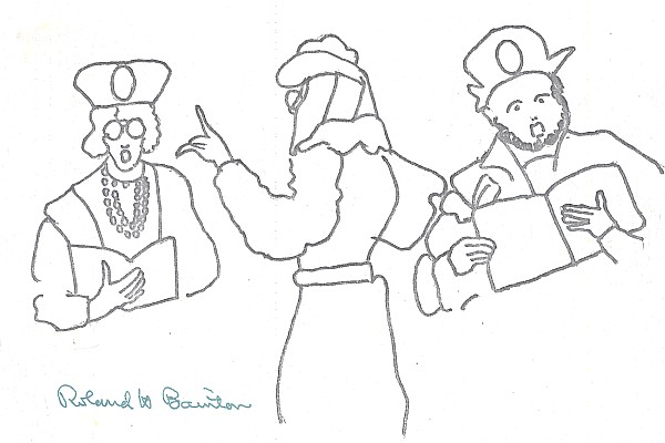 One of several Roland Bainton sketches of Antiqua members