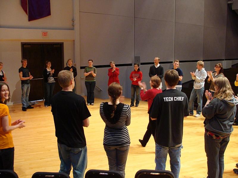 Valerie teaches the dance steps