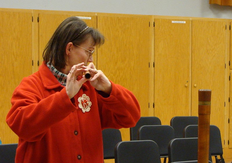 Woman testing out instrument