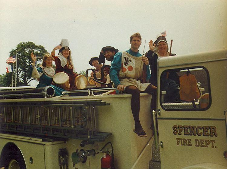 Antiqua on the Specer fire truck