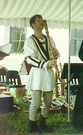 Alan on his bass krummhorn