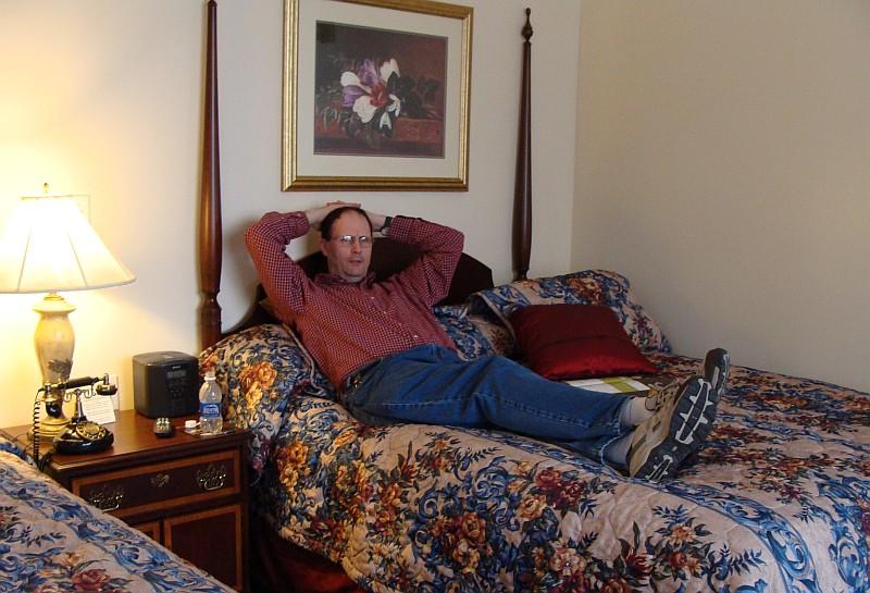 Steve in hotel room
