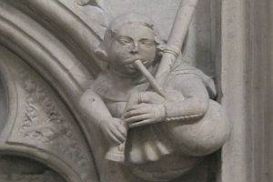 Stone carving of bagpipe
