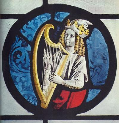harp image in stained glass