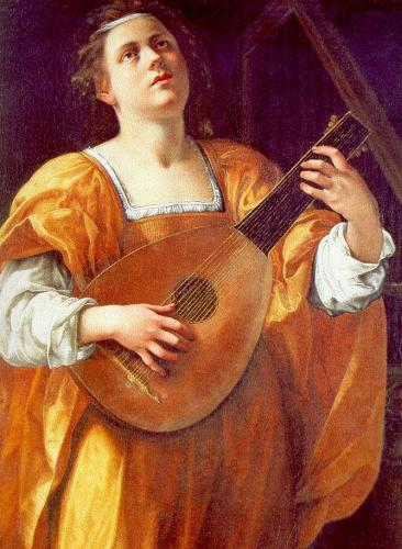 Old painting of lute being played