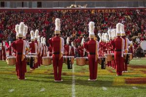 ISU cyclone marching band on the football field