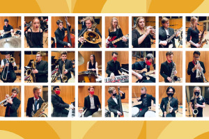 Jazz band members playing instruments