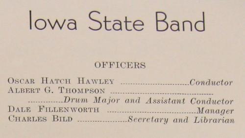 Iowa State Band program 1931