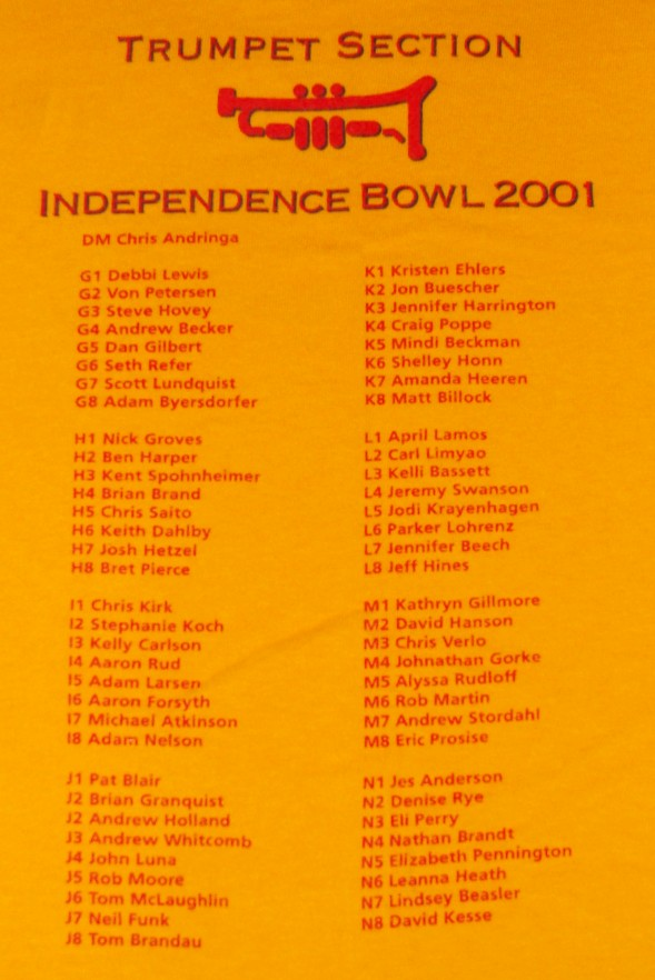 Back of the Band's Independence Bowl Shirt. Listing names.