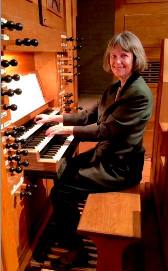 Photo of Dr. Miriam Zach playing organ