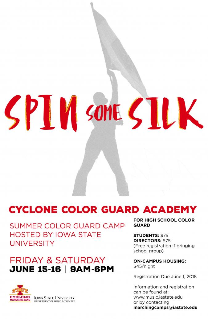 Advertisement for summer color guard academy.