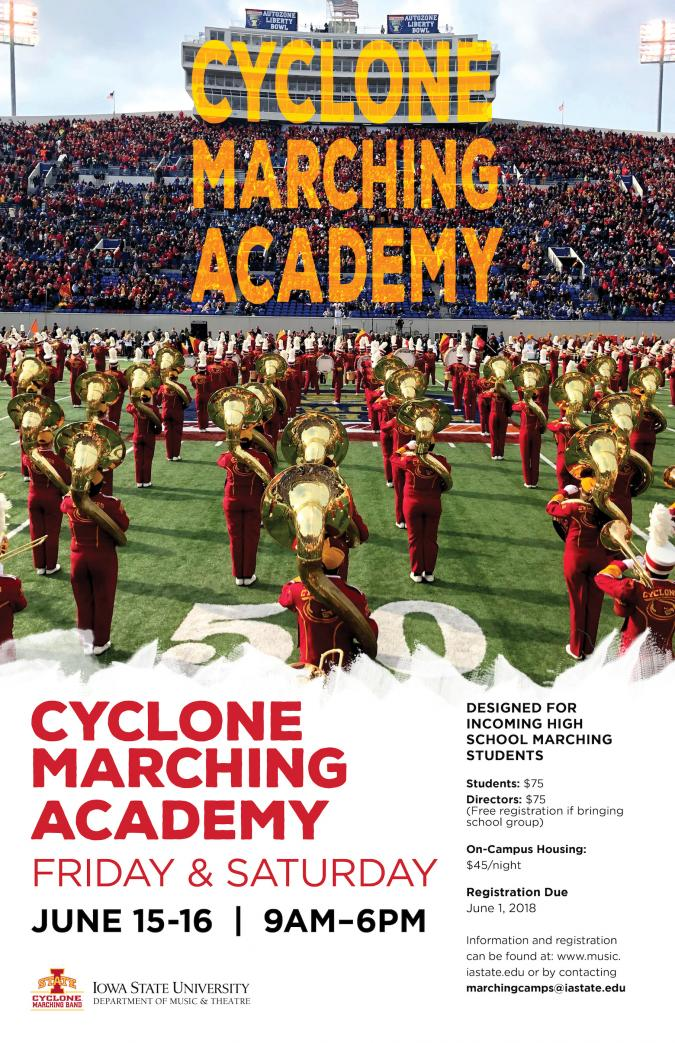 Advertisement for summer marching academy.