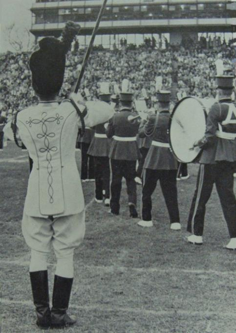 Drum major leading the band