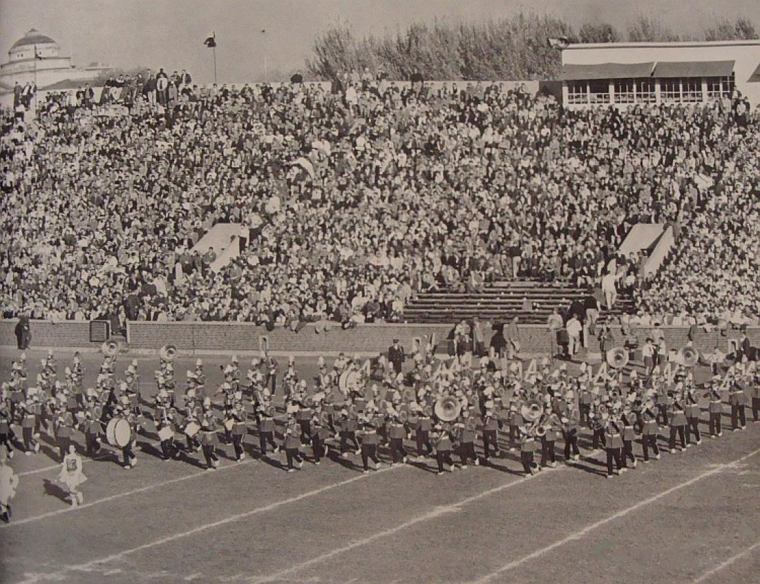 1956 Band performing on the field.