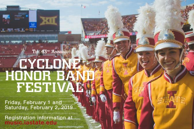 advertising info and picture of band students.