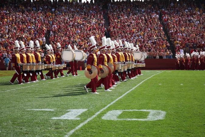 Drumline on football field
