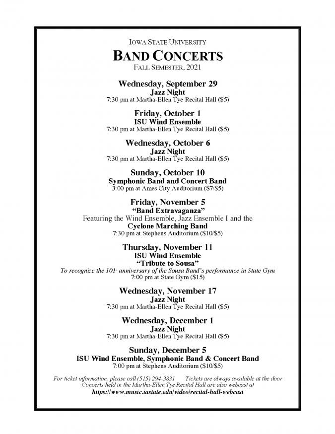 2021 Fall concert schedule