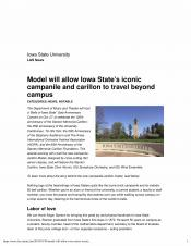 Model will allow Iowa State's iconic campanile and carillon to travel beyond campus