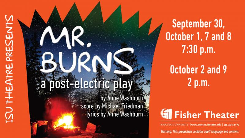 Poster for Mr. Burns, A Post-Electric Play.