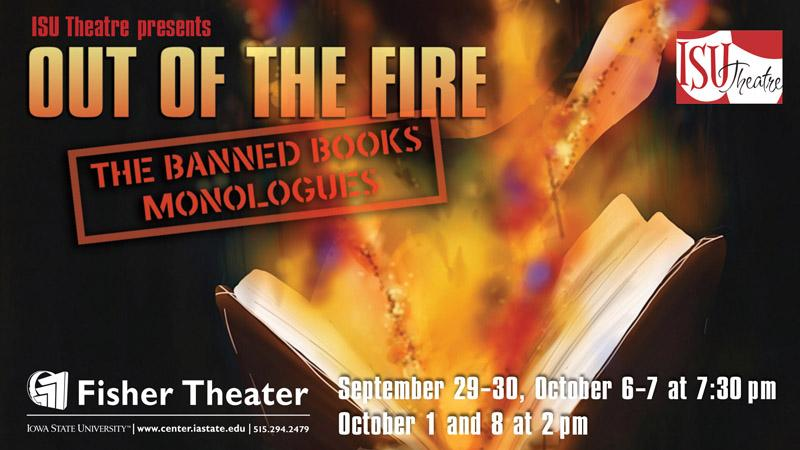 Poster for Out of the Fire: The Banned Books Monologues.